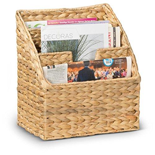 Zeitschriftenhalter JOEL - Zeitschriftenständer aus Wasserhyazinthe - Zeitschriftenkorb - Zeitungskorb Maße 30x21x34 cm - Premium Zeitungsständer