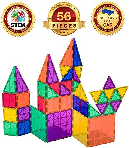 Playmags Award Winning Clear Colors Magnetic Tiles 50 Pcs Building Set including a Car - Colorful & Durable STEM Magnetic Toys Develop Motor Skills & Creativity - 6 Additional Clickins included
