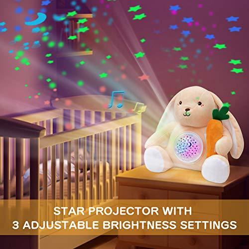 APUNOL Peluche per la Nanna- Carillon Neonati- Luce Notturna Bambini Ricaricabile USB Regalo Neonate Giocattolo Coniglio con Sensore di Pianto, Proiettore Stele e Rumori Bianchi