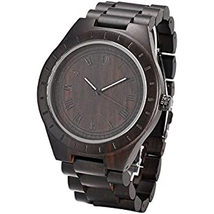 Ebony Wood Watch, Yapeach Mens Causal Quartz Wrist Watch Handmade Black
