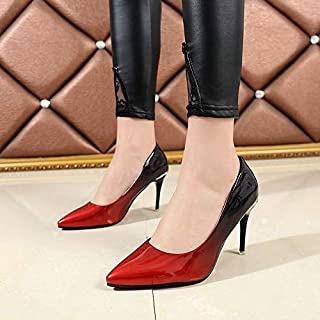 Spring Autumn Woman Dress Comfortable Shoes Red Black Gradient Color Supper High Heels Shoes Women Patent Leather Pumps Zapatos Mujer(35,Gray)