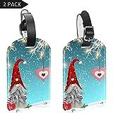 LORVIES Tomtar en Suecia Tonttu en finlandés luces de Navidad y colgantes de corazón rojo para equipaje etiquetas de viaje, etiqueta para nombre de tarjeta, bolsa de equipaje, 2 unidades