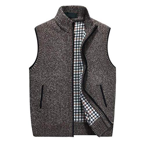 GKKXUE Chaleco de lana de punto de los hombres