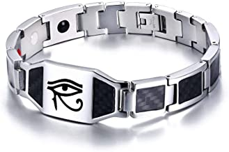 XUANPAI XP Eye of Horus Ra Thoth Udjat Magnetic Therapy Health Carbon Fiber Bracelet,Egyptian Amulet Pagan Jewelry