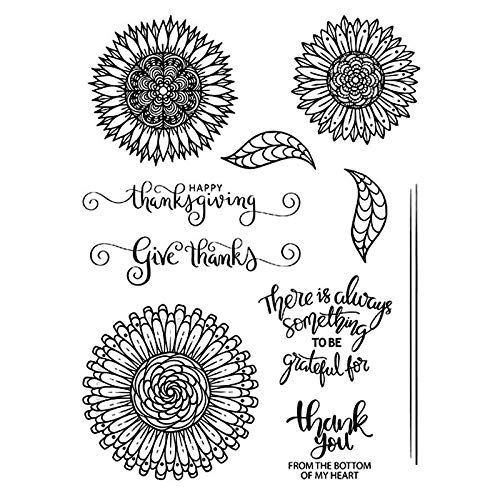 Sunflower and Leaves Designs Happy Thanksgiving Holiday Various Elements Durable Silicone Clear Stamp and Metal Cutting Die Set for DIY Card Making Decoration Scrapbooking Handmade Craft