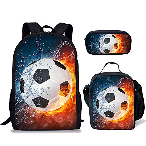 FOR U DESIGNS Junior School Bags Set with Lunch Bags Pencil Case 3D Soccer Pattern