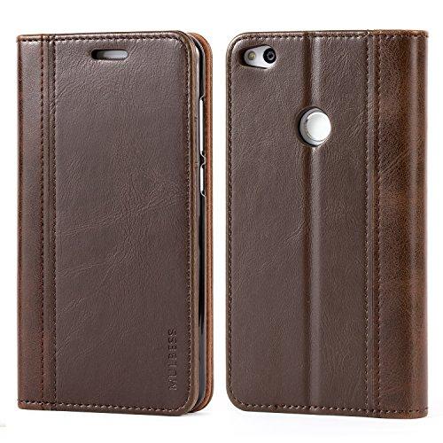 Mulbess Funda Huawei P8 Lite 2017 [Libro Caso Cubierta] Billetera Cuero Carcasa para Huawei P8 Lite 2017 Case, Vintage Marrón