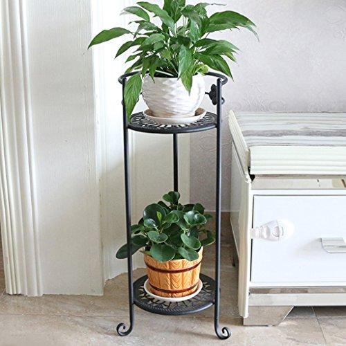 QFF Porte-fleurs en fer Multi-plancher - Style Pots de plancher Balcons Étagères de plantes Salon Étagère de fleurs simple ( Couleur : Noir )