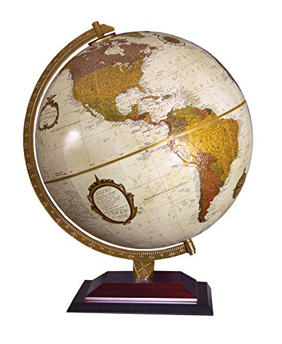 """Replogle Andorra 12"""" Desktop World Globe, Raised Relief, Up-to-Date Cartography, Made in USA (Antique Ocean with Bronze Metallic Continents)"""