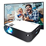 Mini Projector, GooDee W18 WiFi Movie Projector with Synchronize Smartphone Screen with 4500 Lux and 200'' Video Projector Support TV Stick, HDMI, VGA, USB, Laptop, PS4, and iOS/Android Phone