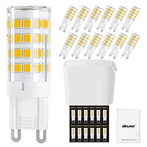 DiCUNO Bombillas LED G9 4W, Equivalentes 40W bomlillas halógenas, Blanco cálida 3000K 400LM, AC 220-240V, G9 Cerámica Base, Pack de 12