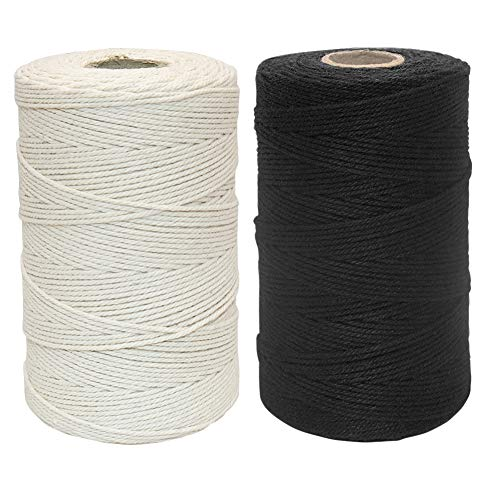 Tenn Well Cotton String, 2Rolls x 656 Feet 1mm Bakers Twine for Baking, Crafting, Packing, Gift Wrapping and More (Black, Beige)