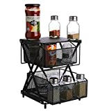 VEEYOO Pull Out Cabinet Organizer - Under Sink Organizer with Adjustable Height Mode, Sliding Basket Organizer for Kitchen, Bathroom and Office, Black(L)
