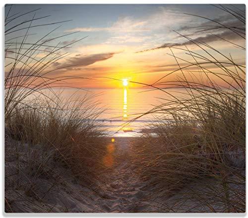 Wallario Herdabdeckplatte/Spritzschutz aus Glas, 1-teilig, 60x52cm, für Ceran- und Induktionsherde, Sonnenuntergang am Strand