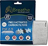 iBreathe (20 PCS + 5 BONUS) PM 2.5 Filters Activated Carbon Replaceable Face Covering and Mask Filters Insert for Outdoor Anti Pollution/Smoke Protection