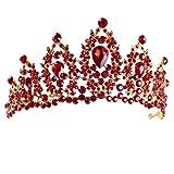 TOOGOO Diademes et couronnes Rouge en Cristal de Mariage de Concours de Beaute Couronnes et diademes nuptiales de Strass Bijoux de Cheveux Bandeau des Femmes et des Filles