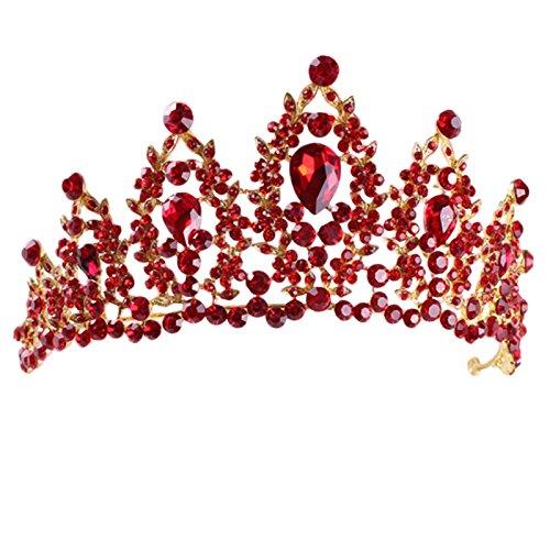 TOOGOO Rot Festumzug Hochzeit Kristall Tiaras und Kronen Braut Strass Tiaras Kronen Haarschmuck Frauen Maedchen Haarband