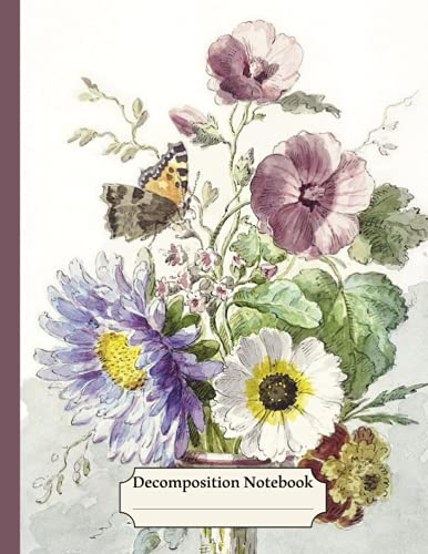 Decomposition Notebook: Flower College Ruled Paper, Colorful, Vintage Flowers illustration with a Butterfly, Floral Journal - 120 Pages Wide Lined Notebook