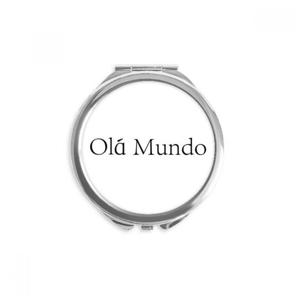 Hello World Portuguese Hand Ranking TOP2 shipfree Compact Round Pocket Mirror Portable