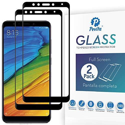 Pevita Protector de Pantalla Xiaomi Redmi 5. [2 Packs] Full Screen. Dureza 9H, Sin Burbujas, Fácil Instalación. Protector de Pantalla de Cristal Templado Premium para Xiaomi Redmi 5
