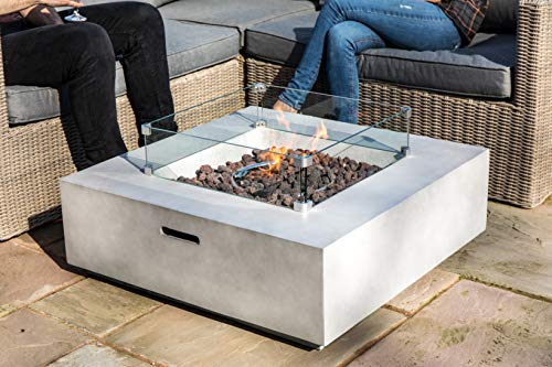 Peaktop Firepit Outdoor Gas Fire Pit Concrete with Lava Rock & Cover HF35708AA-UK, Light Grey