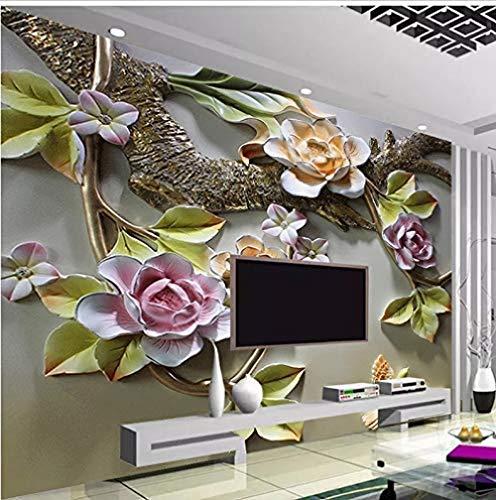 Mssdebz Benutzerdefinierte Jede Größe Tapete 3D Geprägte Blume Vogel Foto Wohnzimmer Schlafzimmer Tv Hintergrund Seide Wandhauptdekor-200cmx140cm
