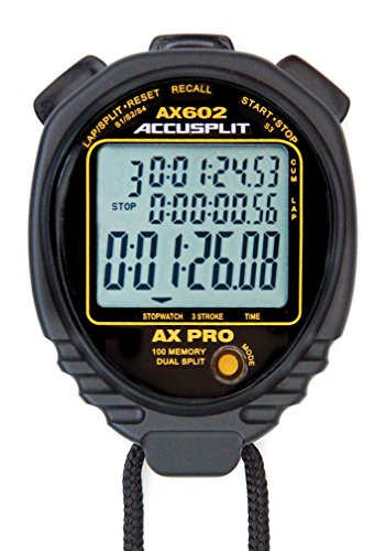 ACCUSPLIT AX602 PRO MEMORY (100) 3 LINE DISPLAY Stopwatch with STROKE RATE (Black)