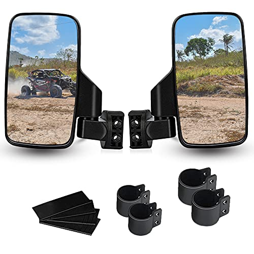UTV Side View Mirrors for 1.75' and 2' Roll Bar Cage(2 Pack), Adjustable Wide Rear Clear View Mule Mirrors for Polaris RZR, Can-Am, Kawasaki, Kubota, Yamaha, Maver