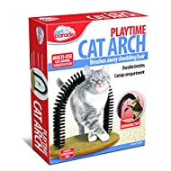 Pet Parade Self-Grooming Playtime Cat Arch - Helps Prevent Hairballs & Controls Shedding - Includes Hanging Toy, Black