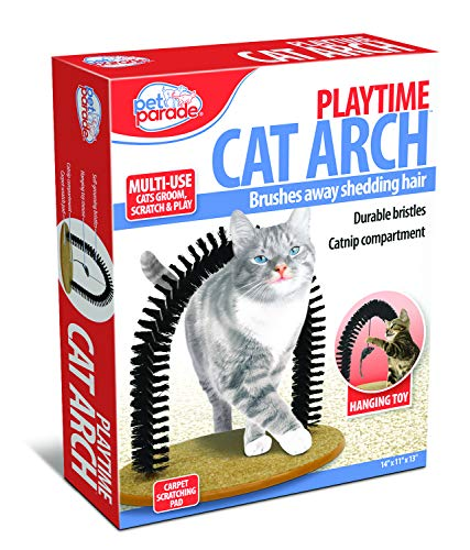 Pet Parade Self-Grooming Playtime Cat Arch - Helps Prevent Hairballs & Controls Shedding - Includes...