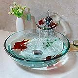 WDXLT Gehärtetes Glas Waschbecken Wasserfall Chrom Messing Wasserhahn Combo Gold