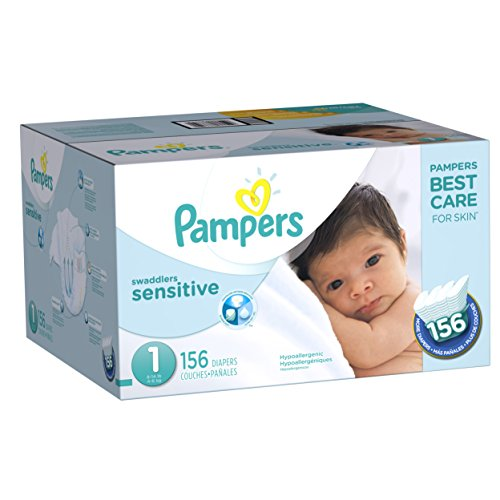 Diapers Newborn / Size 1 (8-14 lb), 156 Count - Pampers Swaddlers Sensitive Disposable Baby...