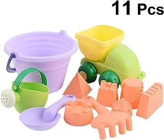NUOBESTY 11pcs niños Arena Juguetes de Arena arenero moldes Juguetes Cubo de Coche de Juguete Conjunto para bebé niño niño Color al Azar