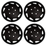 Tuningpros WC3-15-807-B - Pack of 4 Hubcaps - 15-Inches Style Snap-On (Pop-On) Type Matte Black Wheel Covers Hub-caps