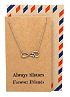 Quan Jewelry Adjustable Infinity with Hearts Pendant Necklace, Perfect Handmade Birthday Gift for Sisters or BFF with Inspirational Greeting Card, 16 to 18 Inches [並行輸入品]