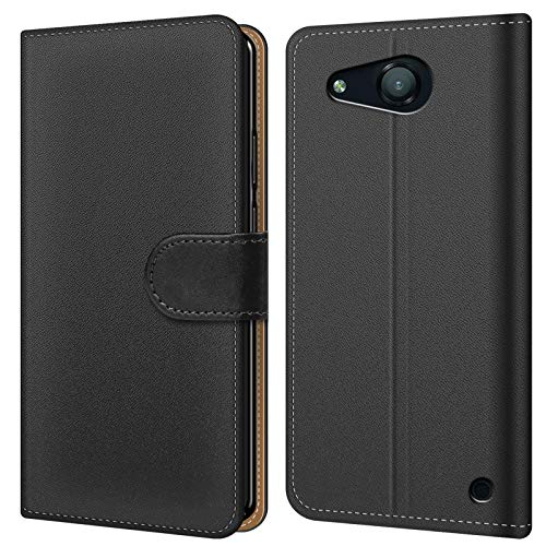 Conie BW19767 Basic Wallet Kompatibel mit Microsoft Lumia 550, Booklet PU Leder Hülle Tasche mit Kartenfächer und Aufstellfunktion für Lumia 550 Case Schwarz