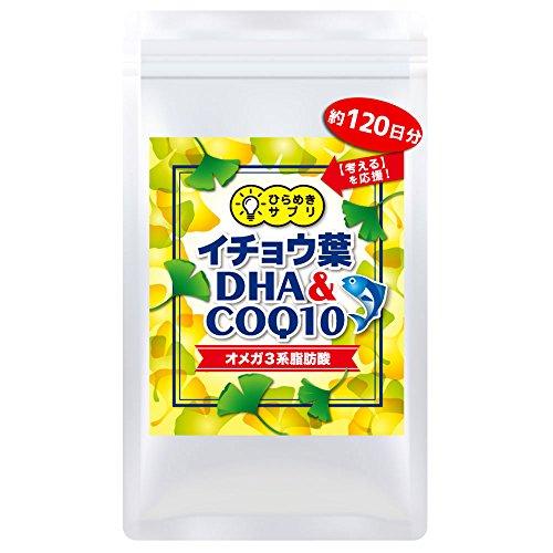 【4ヶ月分】イチョウ葉 サプリメント <DHA・COQ10・オメガ3系脂肪酸配合>「ひらめきサプリ」国内製造 (徳用120日分×1袋)
