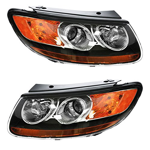 Headlight Headlamp Left LH & Right RH Pair Set of 2 Compatible with 2007 Hyundai Santa Fe/Built Before 7/12/07 Production Date Only