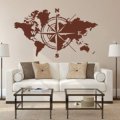 Gran mapa del mundomapa del mundobrújulapegatina de paredmapa del mundo de la tierra globalpegatina de vinilo para pared de dormitorioA2 96x56 cm