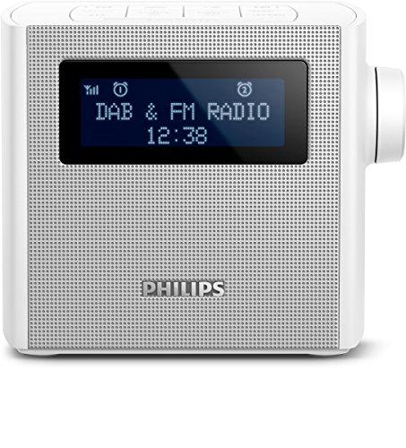 Philips AJB4300W Radiowecker (mit DAB+, Digital UKW, 2x Weckzeiten, USB zum Laden) weiß