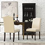 BELLEZE Upholstered Accent Dining Chair Classic Parsons Linen Cushion Fabric Nail Head with Wooden Leg Set of (2), Beige