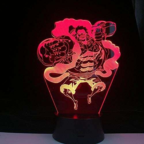 Luces de noche LED Gear Cuarta figura Luffy7 colores cambiantes Luz de noche LED táctil para decoración de dormitorio de bebé Regalo de Navidad-16 color remote control