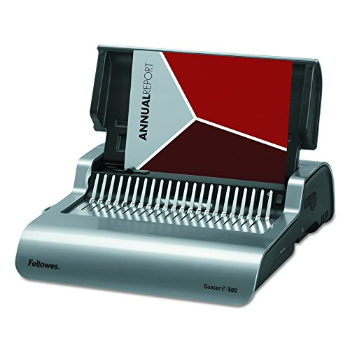 Fellowes 5216901 Quasar 500 Electric Comb Binding System, 16 7/8 x 15 3/8 x 5 1/8, Metallic Gray