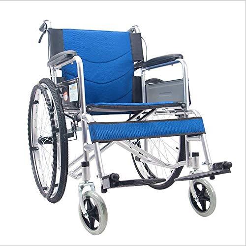 Busirsiz Silla de ruedas de transporte ligero plegable silla de ruedas portátil silla de viaje discapacitados vejez scooter de refuerzo luz