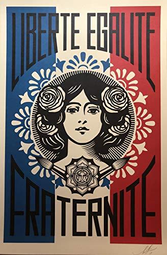 Impression originale de « Liberté, Égalité, Fraternité » par Shepard Fairey