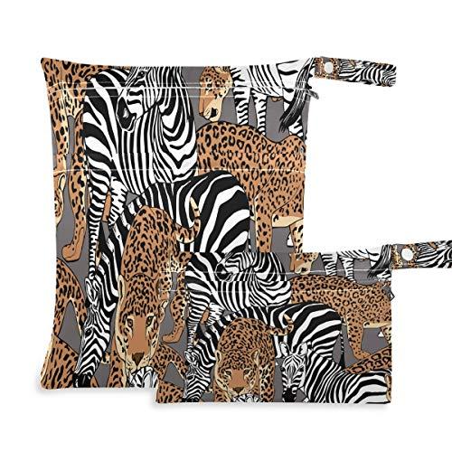 Hunihuni Bolsa de pañales de tela seca húmeda con estampado de leopardo, impermeable, reutilizable, dos...