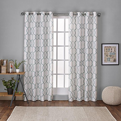 Exclusive Home Tende Kochi Linen Blend Grommet Top Window Curtain Panel Pair, Sea Foam, 54x 84cm, Pezzi