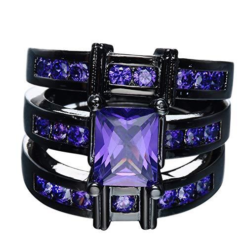 Bigood Women Three Pieces Cubic Zirconia 18K Stainless Steel Rings Purple 9