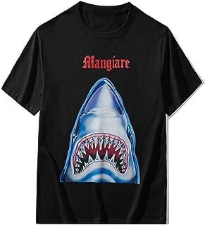 HOSD Nueva Camiseta de algodón para Hombres y Mujeres Letras góticas Rojas Estampado de tiburón Pareja Cuello Redondo Cami...