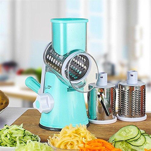 TTLIFE Round Mandoline Slicer/Mandoline Slicer/Stainless Steel Vegetable Chopper Vegetable Cutter Manual Potato Julienne Carrot Slicer Cheese Grater with 3 Blades...